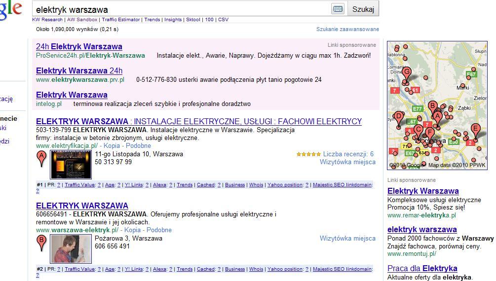 Nowe wyniki wyszukiwania - połączenie organicznych z Google Maps